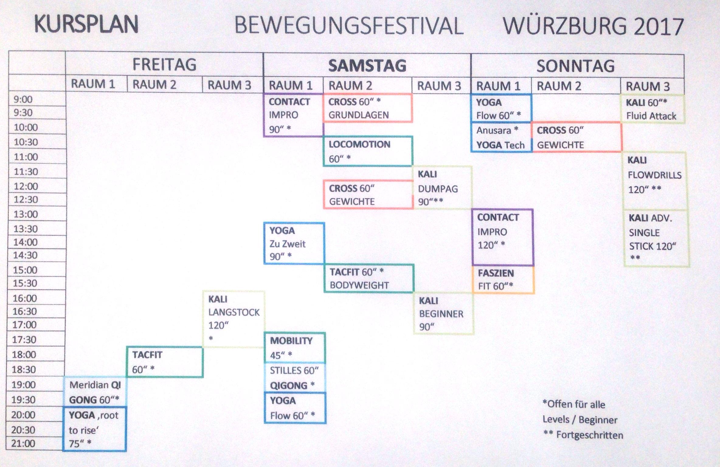 Der Kursplan des Bewegungsfestivals in Würzburg